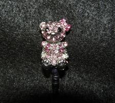 1 Cellphone 3.5mm Rhinestone Dust Plug Cute Bear with Bow Pink