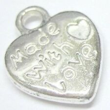 "25 pcs 10x14mm ""MADE WITH LOVE"" Cuore Tono Argento Lega CHARM CIONDOLI-A0197"