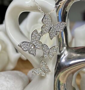 925 Sterling Silver Jewellery Necklace Chain Paved Crystal Butterfly Pendant UK