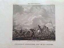 BATTAGLIA FANTERIA CONTRO CAVALLERIA Incisione orig. XIX sec PH. WOUVERMANS