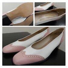 Nos~True Vintage Wingtip Shoes/Heels/Pump~Pink/Whi te Pinup Rockabilly Vtg Sz 8