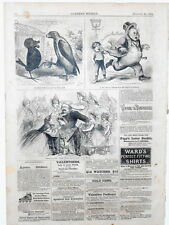 Harper's Weekly Page Civil War Cartoons Valentines Roller Skates Ad 1863