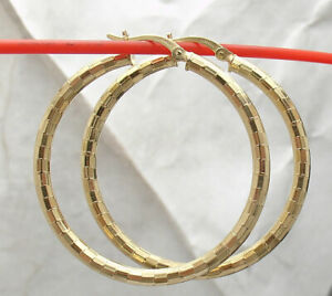 "1.5"" Technibond Diamond Cut Round Hoop Earrings 14K Yellow Gold Clad Silver"