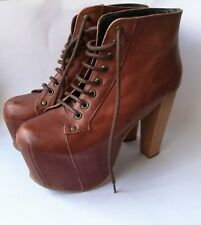 JEFFREY CAMPBELL Leather Brown Platform Ankle Boots Wooden High Heel Shoe Size 5