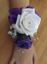 Wedding flowers wrist corsage white/purple rose & button hole purple rose
