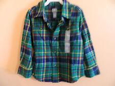 NWT baby Gap boy long sleeve green & blue plaid flannel shirt; 2 pockets; sz 3T