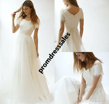 Modest Short Sleeve Beach Wedding Dress Bohemian A Line Bridal Gown Custom Size