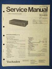 TECHNICS SU-600 INT AMP SERVICE MANUAL ORIGINAL FACTORY ISSUE THE REAL THING