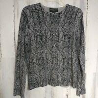 August Silk Cardigan Sweater Women's Size XL Gray Snake Print