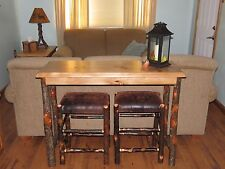 Amish Hickory Sofa Live Edge Table Breakfast Bar with 2 Hickory Bar Stools