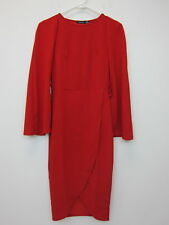 Boohoo Women's Molly Cape Tailored Belted Midi Dress US 6 Red  NWT