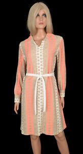 Vintage 70s BELTED SHIFT Secretary MINI DRESS Retro Long Sleeves Peach Graphic L