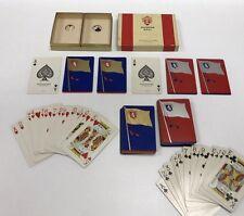 Vtg 2 Deck Set USPC Haddon Hall Playing Cards United Kingdon Lion Crest Flag