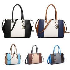 Women Designer PU Leather Shoulder Handbag Sutton Center Stripe Satchel Handbag
