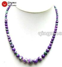 4-12mm Round Purple Natural Agate Chokers Necklace for Women Fine Jewelry ne5860