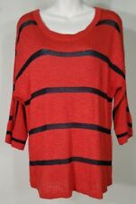 Soft Surroundings red black striped 3/4 sleeve boat neck sweater ladies Small