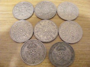 A Collection of 8 George VI and Elizabeth Florin Coins - Nice Condition