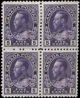 Canada #112 mint VF OG NH/LH 1922 King George V 5c violet Admiral Block of 4