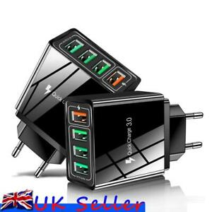 UK Plug 4Port Fast Quick Charge QC 3.0 USB Hub Wall Charger Power Adapter Travel