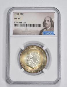 MS64 1953 Franklin Half Dollar - 90% SILVER - NGC Graded *248