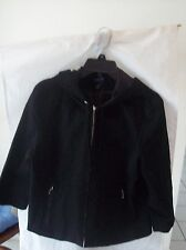 Woman's Black Lightweight Hoodie Jacket by Ann Taylor Stretch Size L