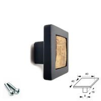SQUARE KNOB MATT BLACK + WALNUT WOOD DOOR HANDLE KITCHEN CUPBOARD CABINET DRAWER