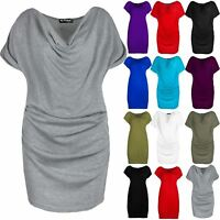 Womens Gathered Cowl Neck Short Sleeve Ruched Ladies Vest Stretchy T Shirt Top