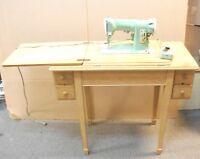 1958 Singer 185K Heavy Duty Sewing Machine in Oak Cabinet, Vintage Green