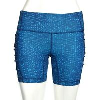 LULULEMON Shorts Beautiful Blue Water Wave Pattern size 2 Ruched Accent - 409