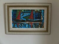 Mid 20th century oil painting of sailing scene by Louis Zelig (1922-1993)