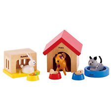 Kids Wooden Animal Toy 12pc Dog Cat Bunny Pet Bowl Children Doll House Accessory