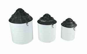 Set of 3 Black and White Vintage Farmhouse Tin Silo Canisters