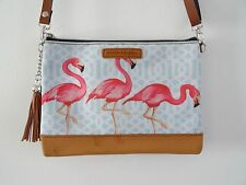 Pink Flamingo Handbag - Tropical Hibiscus Blue Summer Holiday Brown Bag