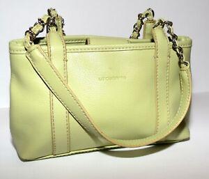 Liz Claiborne Lime Green Pebbled Faux Leather 2 Partial Chain Straps Handbag