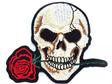 Skull and Rose Embroidered Iron on Patch A084