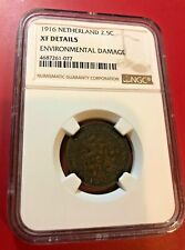1916 NETHERLANDS 2.5 CENTS NGC XF DETAILS ENVIRONMENTAL DAMAGE