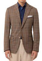 Tallia Mens Sport Coat Brown Blue Size 46 Slim-Fit Plaid Notch Blazer $350 171