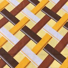 New Retro Vintage Cotton Pillowslip OR Fabric Yellow Brown Geometric Sew Craft