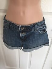 Topshop Moto Blue Denim Shorts Hotpants Button Up UK12 EU40 US8