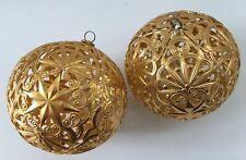 "2 Vintage West Germany Gold Filigree Scrolled Metal  Christmas 3"" Ornament Balls"