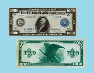 USA 1000 Dollars Federal Reserve Note San Francisco 1918. UNC - Reproduction