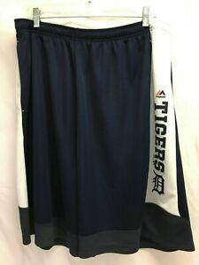 Men's Detroit Tigers Maj. Navy & White Athletic Shorts Striped Trim Sz 2XL, NWOT