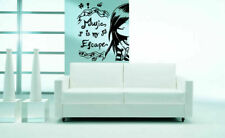 Wall Vinyl Sticker Decals Mural Design Music Is My Escape Notes Quote #439