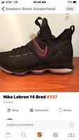 Nike LeBron  xiv 14 Bred mens size 10.5