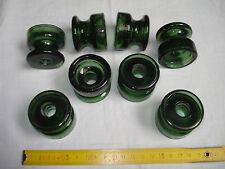 8 isolateurs en verre vert foncé diamètre 45 mm