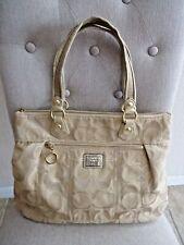 Coach Signature Shoulder Bag Glam Poppy Sateen Purse Khaki Gold #17890