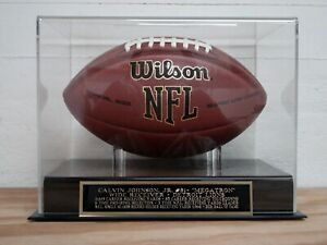 Calvin Johnson Jr. Football Display Case With A Detroit Lions Engraved Nameplate