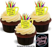 12 Novelty Good Luck Exams Yellow Mug Edible Cake Cupcake Toppers Decorations