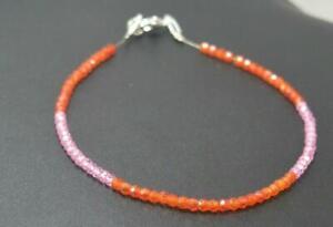 """Orange & Pink Color Zircon Rondelle Faceted 3 mm Beads 5"""" Strand Bracelet BB31"""