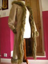 Ladies TOPSHOP faux sheepskin suede teddy COAT 10 8 fur collar penny lane hood